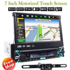 "GPS Navigation 7""Single 1DIN Flip-Out Car Stereo DVD Player Bluetooth MP3+Camera"