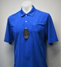 New Mens Greg Norman Play Dry polyester Blue golf polo shirt Medium