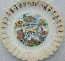 Vintage Massachusetts decorative collector plate, gold trim Harvard Minuteman