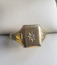 Vintage Birmingham Hallmarked 1955. Heavy Solid 9ct gold diamond signet ring