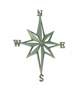 Verdigris Cast Iron Compass Rose Wall Hanging Plaque Home Decor Rustic Sculpture