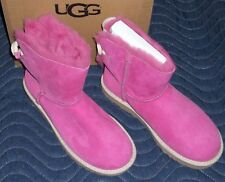 UGG Fuschia Pink Selene Nautical Bailey Bow Sheepskin Boots 1006493 - Size US 7