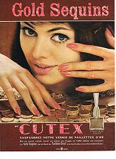 PUBLICITE ADVERTISING  1960   CUTEX  cosmétiques GOLD SEQUINS