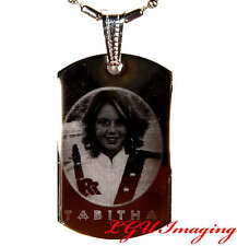 CUSTOM MADE PERSONALIZED POLYMER GLAZED PHOTO ETCH SMALL DOGTAG PICTURE PENDANT