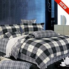 4pc Black/White Plaid Print 220TC Cotton Sateen Sheet Set Queen