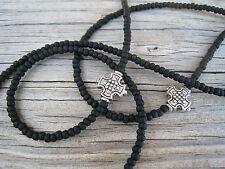 Unisex Men's Matte Black Silver Cross Beads Eyeglass Chain Holder Cord Lanyard