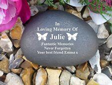 Memorial Gift Personalised Pebble (Stone effect) Butterflies
