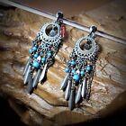 Boucles d`Oreilles Clips Argenté Bleu Baroque Turquoise Tassel Original E2