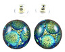 "Dichroic Earrings Glass Yellow Lime Green Round Bubbles Dots POST Stud 1/2"" 12mm"