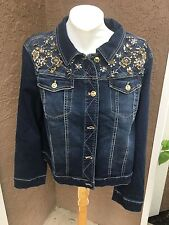 New $139 Soldout Chico's Embellished Denim Jacket Blue Jean Sz 3 = XL 16 18 NWT