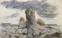 Elisabeth Schiott circa 1900 Acquerello Paesaggio Rocce Rocks Visby Danimarca