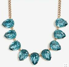 NEW NWT AUTH J Crew blue crystal teardrop statement necklace