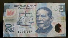 MEXICO 20 PESOS 2012 U Series BILL NOTE  date serial number July 25 1957