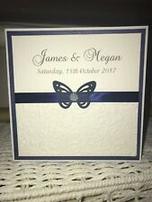 50 Wedding Invites - Butterfly with Pearl Middle - Embossed with Navy Ribbon