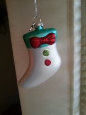 Vintage Look White Christmas Stocking Blown Glass Ornament-Midwest CBK-Brand New