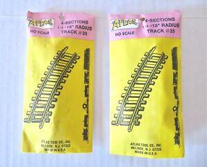 "Lot of 2 Packs Atlas HO Scale 1/3 Shorty 18"" Radius Curve Brass Snap Tracks #35"