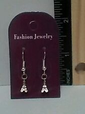 Handmade Silver Plated 3DTiny Eiffel Tower Dangle Earrings - Free Shipping