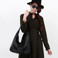 Women Faux Leather Fashion Messenger Handbag Lady Shoulder Bag Totes Purse BLACK