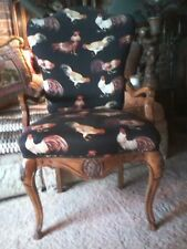 Vintage French Country Chair Black Fabric/Rooster Print + Lumbar Pillow $575.00