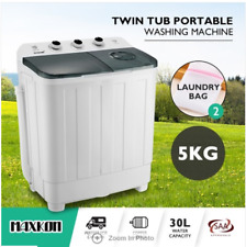 5KG Twin Spin Washing Machine Portable Top Load Washer Dryer Wash & Spin Grey