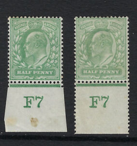 GB :ED VII 1/2d yellow- green control F7 IMPERFORATE+PERFORATED  margins mint