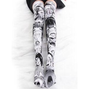 Anime Ahegao Printed Stockings Lolita Gothic Velvet Overknee Tights Socks Girls