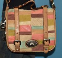FOSSIL Maddox Organizer Patchwork Messenger Brown Leather Crossbody Purse Bag
