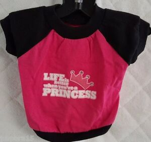 Doggie Pink Black White Life Is Better When You're A Princess Shirt Size XS OR S
