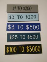 Lot Of 5 Casino Table Game Table Limit Placard Signs