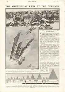 1918  ANTIQUE PRINT- WW1 - LONDON - THE WHITSUNDAY AIR RAID BY THE GERMANS