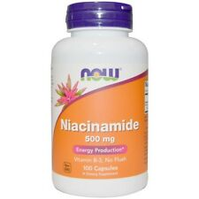 NOW Foods Niacinamide 500MG 100 Capsules Energy Production Vitamin B3 No Flush