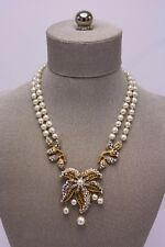 Miriam Haskell Baroque Pearl Vtg Rhinestone Crystal 2 Strand Gold Plate Necklace