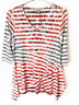 New One World Womens Printed American Flag 3/4 Sharkbite Blouse Tunic Top $45