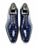 Chaussures habillées à lacets Oxford en cuir bleu véritable pour homme