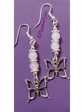 White Jade Gemstone Butterfly Dangle Earrings...