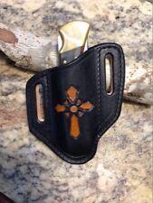 Black & Tan Tooled Cross  Pancake style sheath for the Buck 110