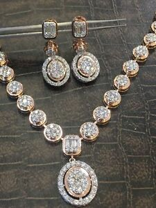 Gorgeous 4.80 Cts Round Brilliant Cut Diamonds Necklace Earrings Set In 14K Gold