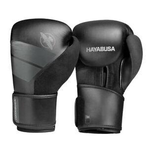 Hayabusa S4 Boxing Gloves Kickboxing MMA Black PU Vegan Leather XT2 Nylon Lining