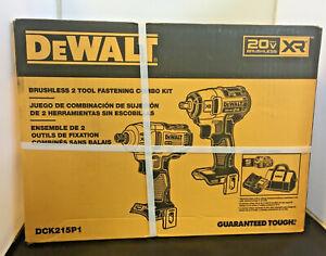 NEW-DEWALT DCK215P1 BRUSHLESS 2 TOOL FASTENING COMBO KIT W/ 5Ah Battery, Charger