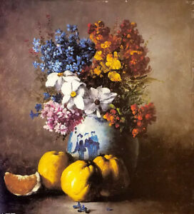 Oil painting clement ribot still life with vase of flowers & fruit hand painted