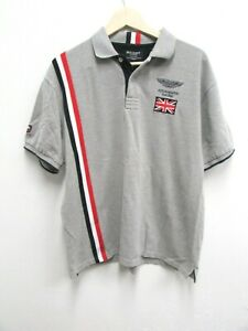 Men's HACKETT x ASTON MARTIN RACING Gray Polo Shirt XL