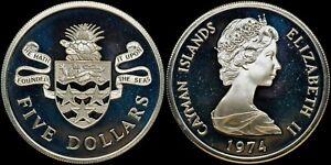 CAYMAN ISLANDS $5 1974 SILVER (GEM PROOF) *PREMIUM QUALITY*
