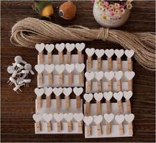 "50X Mini 3cm Wooden Wood Clip / Peg for Decoration Party Photo ""White Heart"""