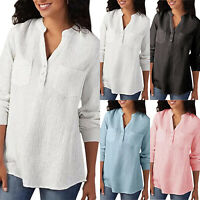 Plus Size Womens Long Sleeve V Neck Tunic Solid Loose T Shirts Baggy Blouse Tops