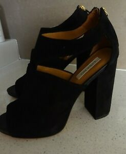 New  LISA HO Peep Toe Cutout Black Suede Leather Block Heels - Size 41 - $590