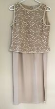 Adrianna Papell 2pc Beige Tan 2pc. Silk Beaded Sparkly Top High Slit Skirt Sz 10