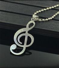 NEW Music Womens Men's Silver 316L Stainless Steel Titanium Pendant Necklace