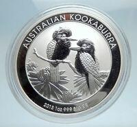 2013 AUSTRALIA Silver 1 Dollar w 2 Kookaburra Birds Australian 1oz Coin i75222