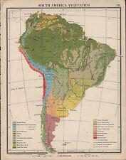 1939 mappa Sudamerica vegetazione SELVAS l'Amazzonia ACQUA DOLCE Swamp Deserto