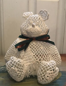 """Vintage Starched Crochet Handmade 9"""" White Teddy Bear So Cute! For Baby Shower"""